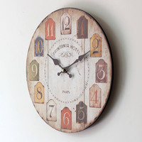 Large 35cm wall clock antique vintage rustic wood wall clock on the wall for home decor gift for child living room