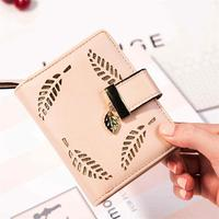Female Short Square Wallet PU Leather Bag For Fashion Women Budalla Mini Leaf Wallet