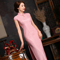TIC-TEC chinese traditional women vintage lace leaf cheongsam long qipao oriental dresses elegant formal evening cloth P3086