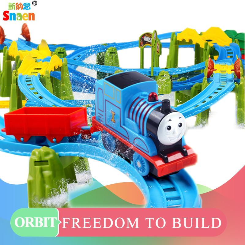 Snaen Electric Rail Car Railway Train Track Interactive Kids DIY Assembly Electronic Model Toys Set with Sounds and Lights