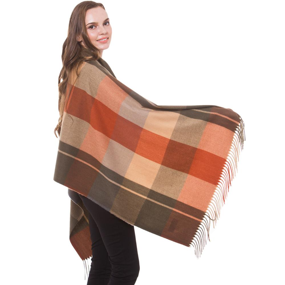 886f95e66 Cashmere Scarf Shawl Winter Stylish Check Plaid Autumn Wrap Fine Brushed  Long Large Thick Tartan Tassel Hijab Olive Brick Camel-in Women's Scarves  from ...