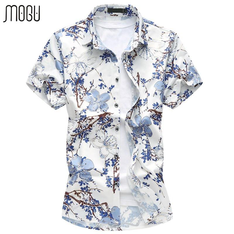 MOGU męskie koszule z krótkim rękawem kwiatowy koszula  SFXqL
