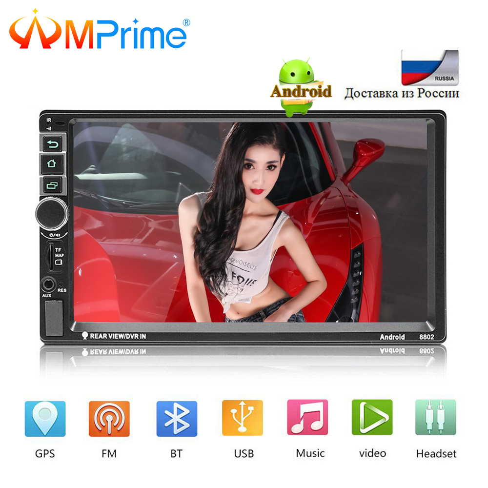 AMPrime Android 2din 7 Car Radio Wifi Car Multimedia Bluetooth GPS Autoradio Touch Screen MP5 Player TF/USB/FM With Rear Camrea amprime android 2 din 7 hd car radio touch screen autoradio gps navigation multimedia mp5 player support wifi bluetooth usb fm