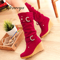 2016 Fashion winter women shoes leisure Round Toe Wedges red high heels Buckle decoration Slip-On Mid-Calf boots big size 34-41