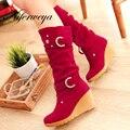 2016 mulheres Moda inverno sapatos de lazer Cunhas Dedo Do Pé Redondo vermelho sapatos de salto alto Fivela decoração Slip-On Mid-Calf botas de tamanho grande 34-41