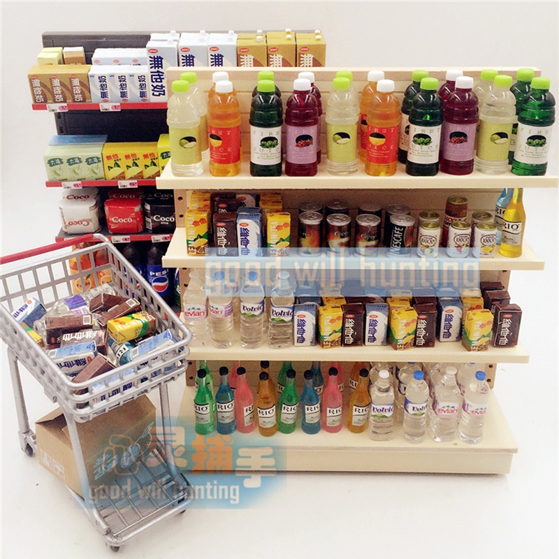 1 12 Miniature Dollhouse Wooden Supermarket Rack For Food And Drinks