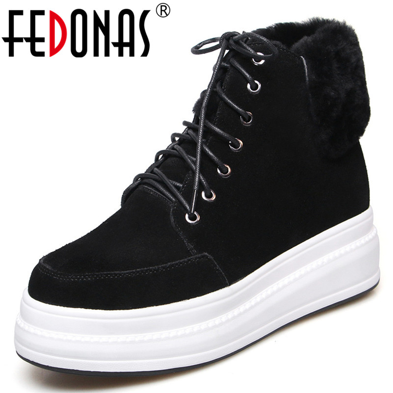 FEDONAS Sexy Women Black Wedges High Heels Ladies Shoes Woman Cow Suede Lace Up Platforms Ankle Boots Warm Autumn Winter Shoes FEDONAS Sexy Women Black Wedges High Heels Ladies Shoes Woman Cow Suede Lace Up Platforms Ankle Boots Warm Autumn Winter Shoes