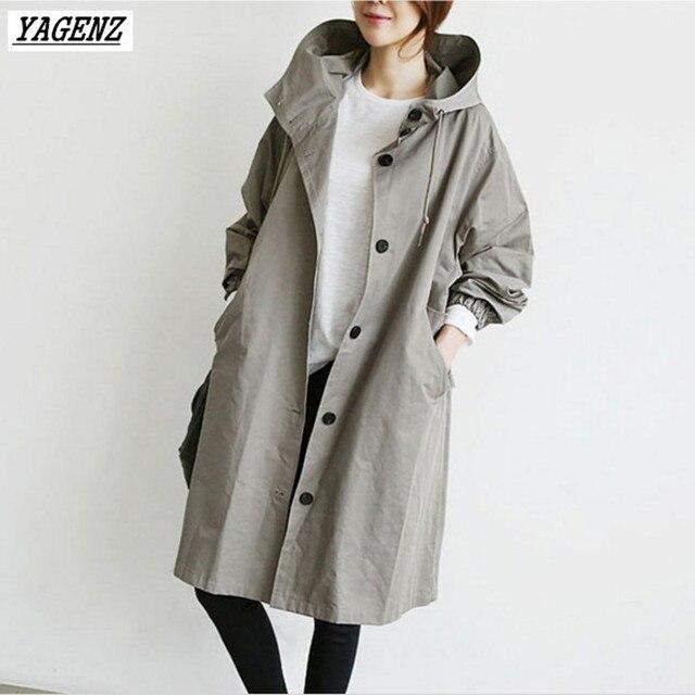 Yagenz женский Тренч Весна-осень Для женщин костюм свободные Британский ветровка Средний длинное пальто с капюшоном Повседневное Топы корректирующие верхняя одежда K180