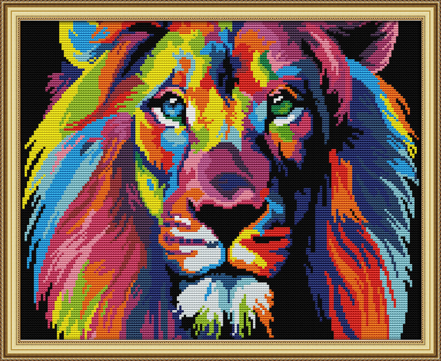 Coloured lion cross stitch kit aida 14ct 11ct count print canvas stitches embroidery DIY handmade