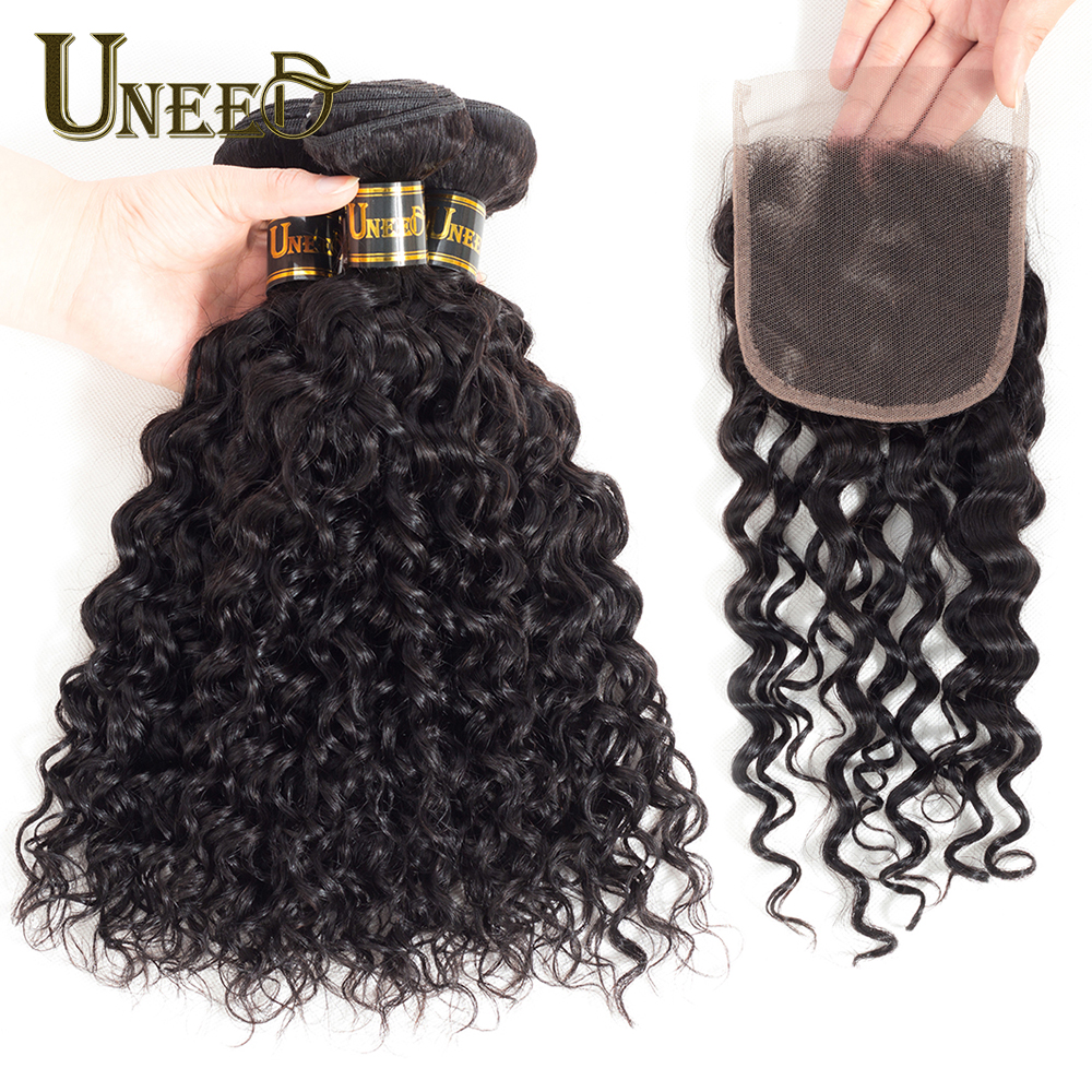 Uneed 3 Bundles Water Wave With Closure Raw Indian Hair Bundles With Lace Closure Free Part Remy Human Hair Bundles With Closure