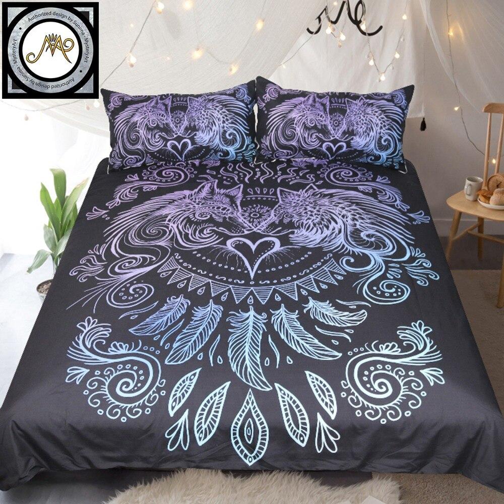 Wölfe Herz Durch Sunimaart Bettwäsche Set Blau Und Lila Bettbezug