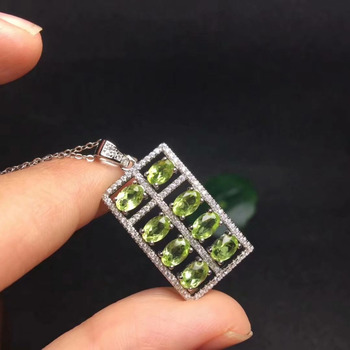 natural green peridot Pendant natural olivine pendant 925 sterling silver Fashion elegant square lucky Abacus girl gift jewelery