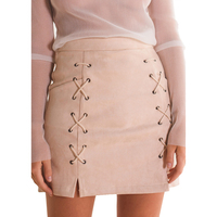 Autumn Winter A Line High Waist Suede Leather Skirt Women Solid Lace Up Vintage Preppy Casual