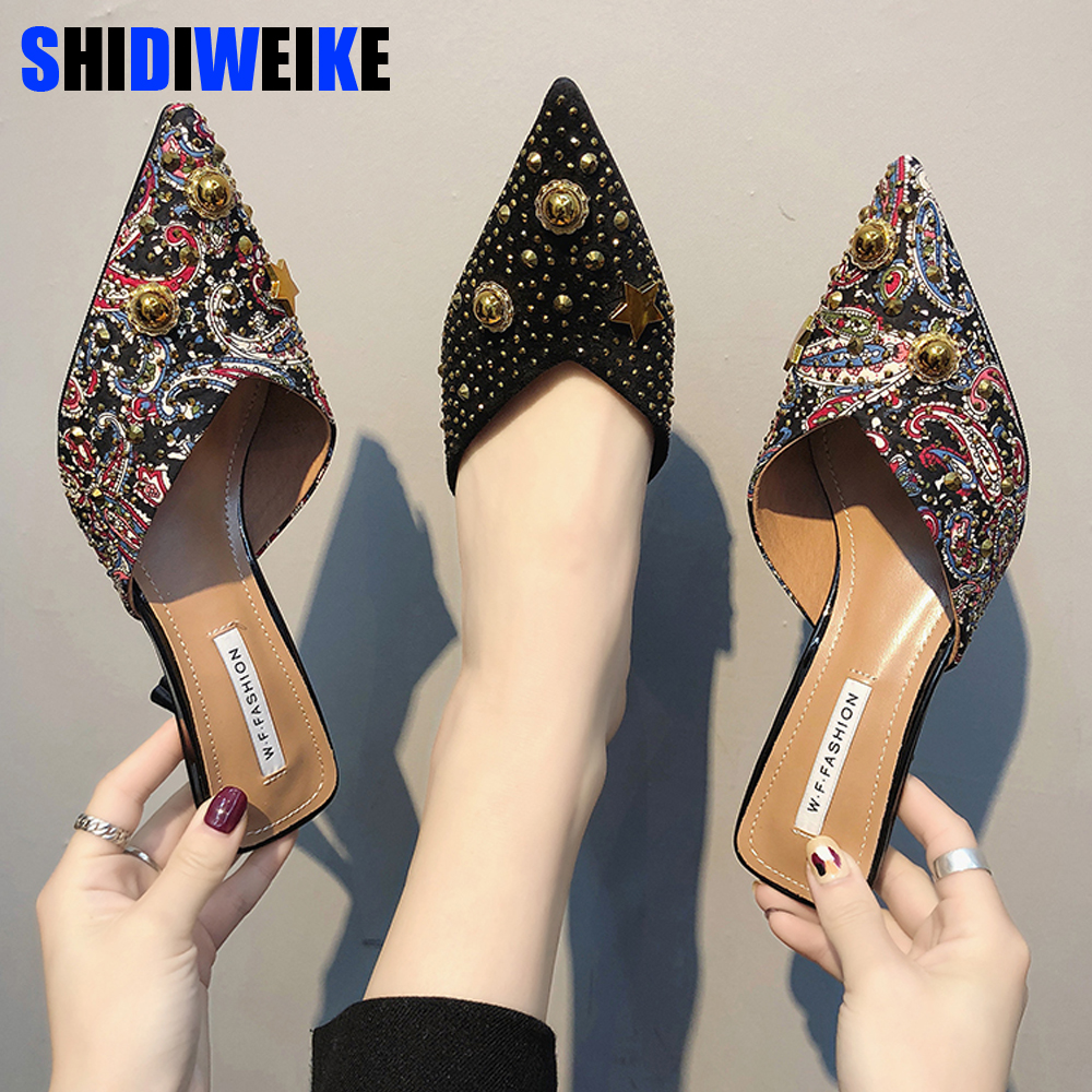 Women Summer High Heels Mules Slippers Ladies Pointed Toe Strange Style Rivet Outside Shoes Woman Fashion Footwear g021Women Summer High Heels Mules Slippers Ladies Pointed Toe Strange Style Rivet Outside Shoes Woman Fashion Footwear g021