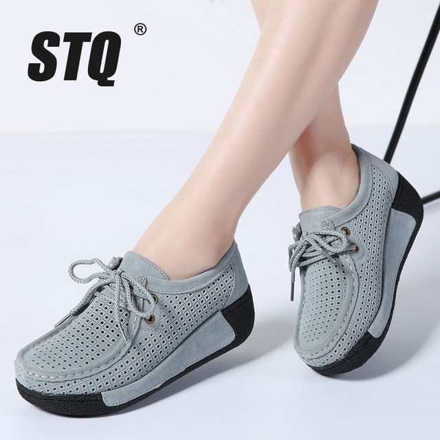 STQ 2020 Autumn Women Leather Suede Flats Women Platform Sneakers Creepers Cutouts Lace Up Flats Moccasins Shoes Woman 7182 1