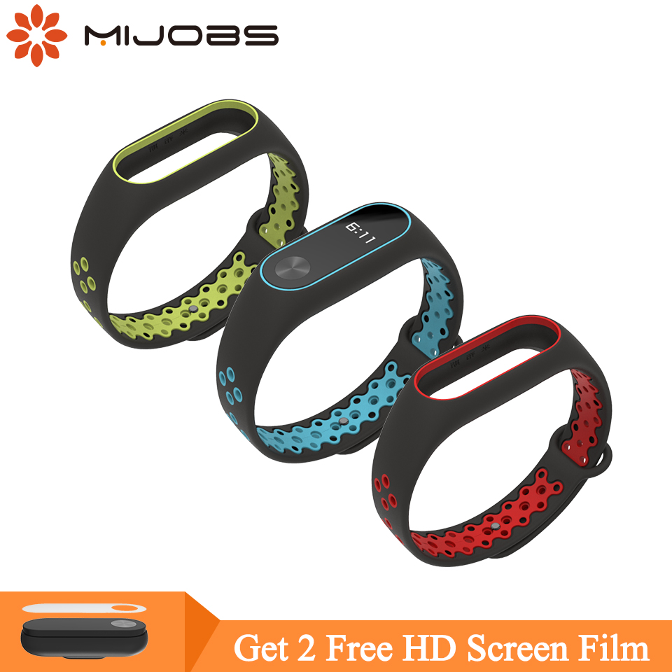 Mijobs For Xiaomi Mi Band 2 Strap Miband 2 Bracelet Sport Wristband Replacement Smart Band Accessories For Mi Band 2 Silicone