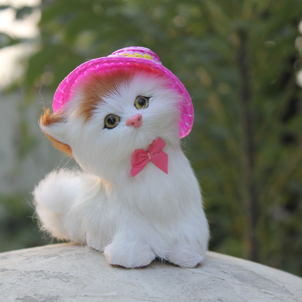 Newly Handmade Cute Simualtion Cute Cat With Pink Hat Hat Block Hat Tourshat Coffee Aliexpress