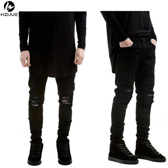 0040c9390 HZIJUE 2018 Nova Preto Rasgado calças de Brim Dos Homens Com Buracos Super  Skinny famoso Designer