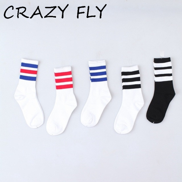 e8d15336ab7 CRAZY FLY Spring Classic Long Three Striped Skate Socks Retro School Of  High Quality Cotton For Women Harajuku Style Brand