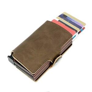 Image 2 - BISI GORO 2019 Men And Women 2 Metal Credit Card Holder Aluminium RFID Blocking PU Wallet Hasp Mini Vintage Wallet Hold 14 Cards