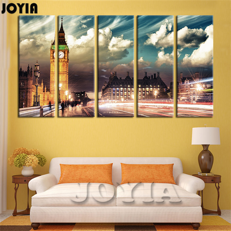 Large Wall Art Picture London Night Canvas Print Black White ...