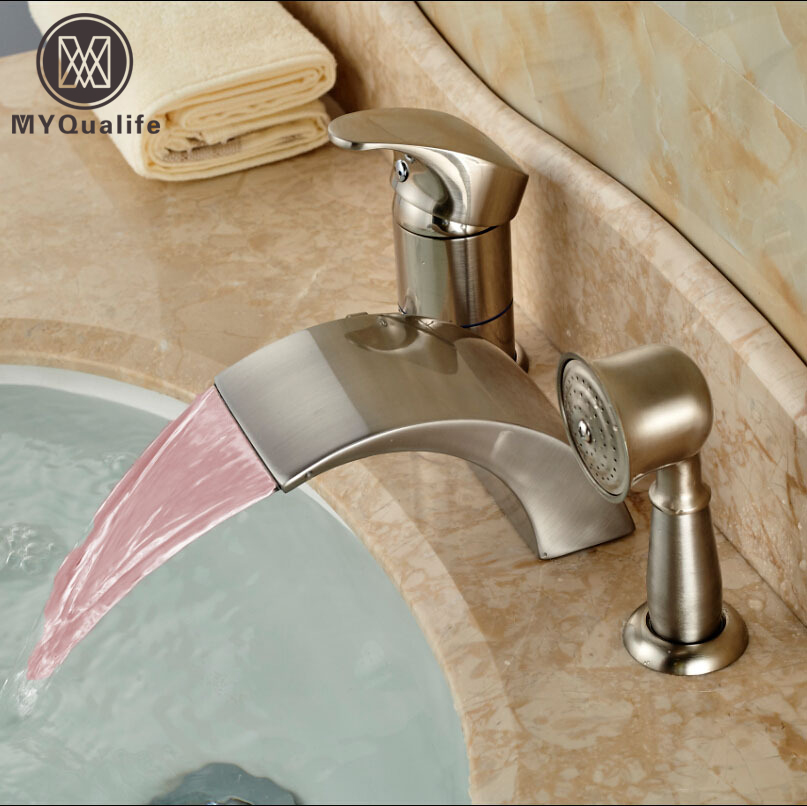 Deck Mount Bathroom LED Light Tub Faucet Single Handle 3 Holes Bathtub Mixer Water Tap Brushed Nickel Finish china sanitary ware chrome wall mount thermostatic water tap water saver thermostatic shower faucet