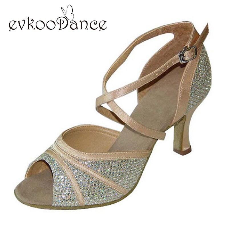Tan Glitter Argent Glitter Noir Et Or Talon Hauteur 6 cm Taille NOUS 4-12 Professionnel Danse Latine Chaussures pour Femmes NL054