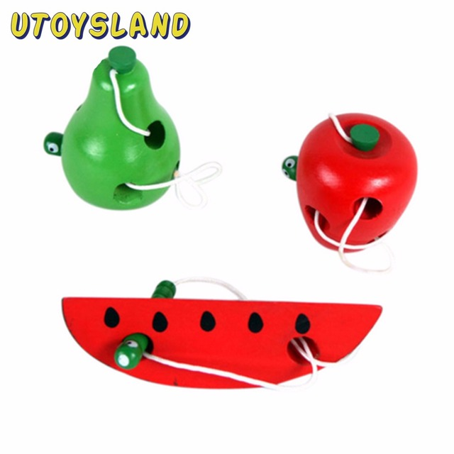 UTOYSLAND Wooden Toys Worm Eat Fruit Apple Pear Gift for Kids Fun Early Learning Montessori Educational Toys for Children