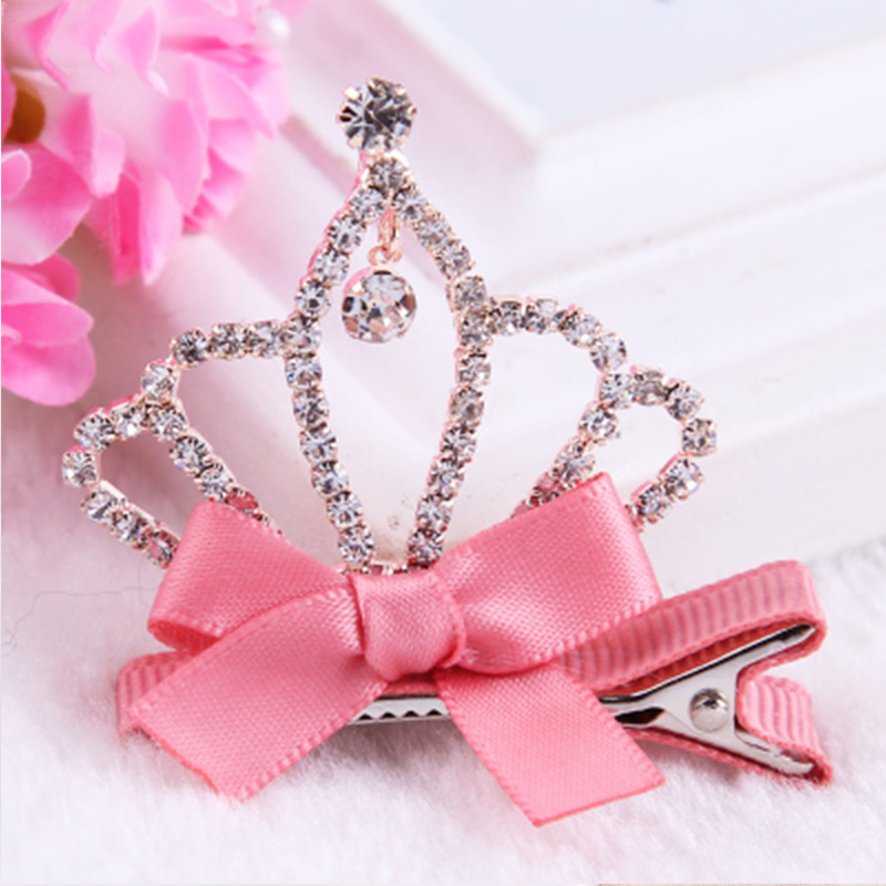 New Children Crystal Barrettes Crown Bow Hairgrip Safety Hair Clip Headband For Princess Gift Kid Hairpins Girl Hair Accessories new colorful ribbon baby hair clips hollow bow hairpins children hair accessories circle protect well wrapped flower barrettes