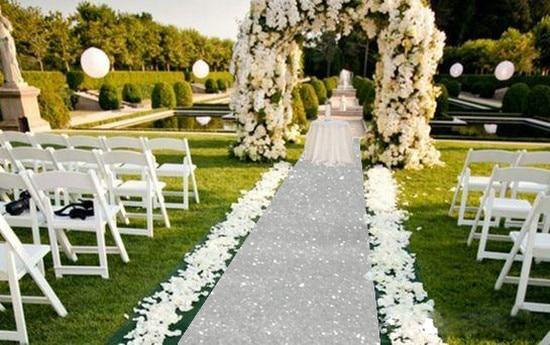Lqiao Sequin Aisles Floor Runner Silver 4ftx15ft Wedding