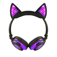Wireless Headphones Cat Ear Bluetooth Earphones Flashing Glowing Headset With LED Light for PC Laptop Adult Kids Headphones Gift