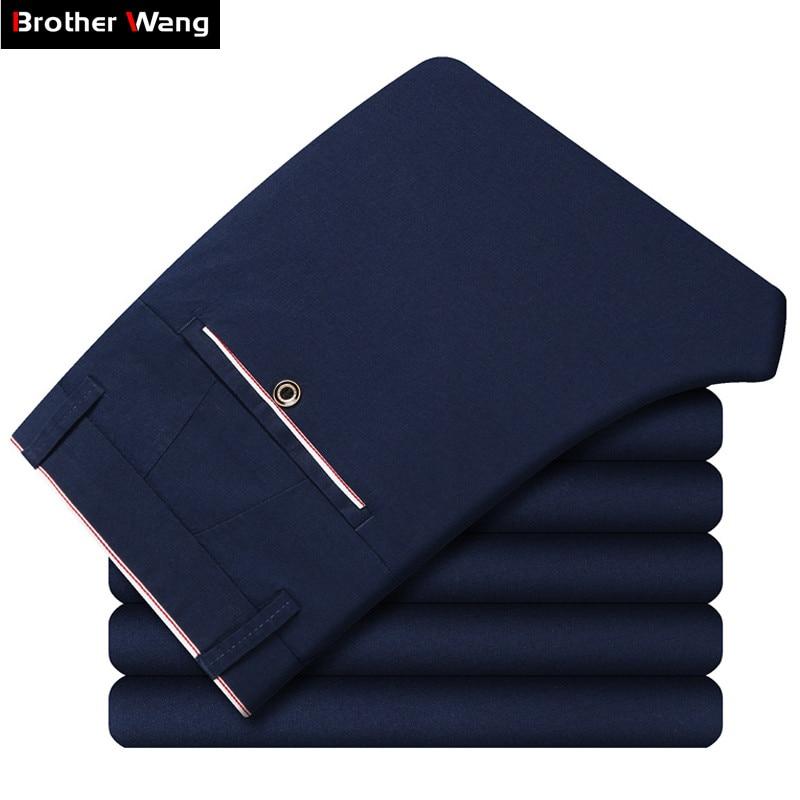 4 couleurs printemps été nouveaux pantalons décontractés 2019 nouvelle mode affaires mince couleur unie marque pantalon mâle gris ciel bleu marine