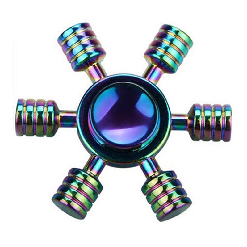 Six Arms In Colorful Fidget Spinner EDC Hand Spinners Autism ADHD Kids Christmas Gifts Metal Finger Toys Spinners