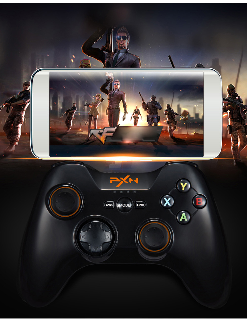 PXN 9613 Wireless Bluetooth Game Controller Portable Handle Bracket Gamepad for PC Tablet Android Smartphone TV Box PK 9603