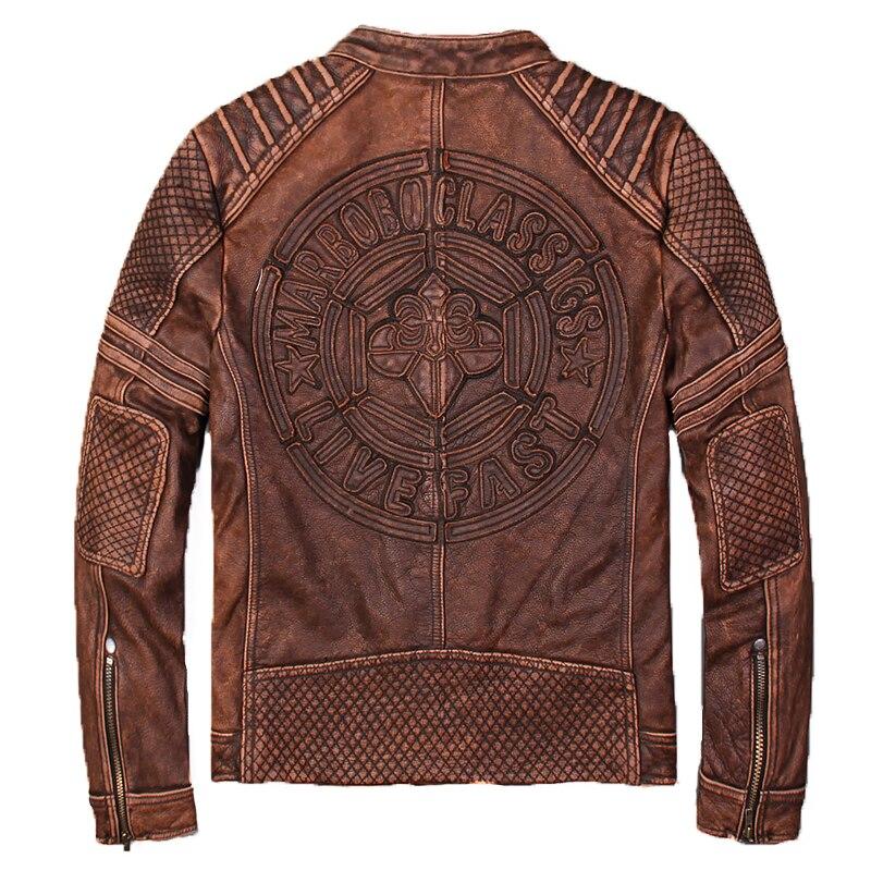 2018 Vintage Brown Biker giacca di Pelle Uomini Giacca XXXXL Genuino Della Pelle Bovina Spessa Slim Fit Breve Moto Giacca di Pelle TRASPORTO LIBERO