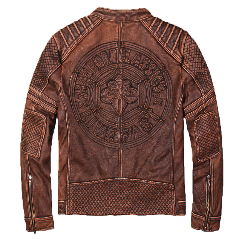 2018 Vintage Brown Biker's Leather Jacket Men XXXXL Genuine Thick Cowhide Slim Fit Short Motorcycle Leather Jacket FREE SHIPPING