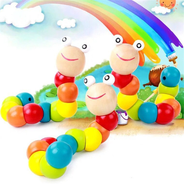 Kids Educational Wooden Toys Insects Puzzles Baby Kids Fingers Flexible Training Science Twisting Worm Toys
