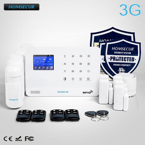 HOMSECUR Wireless LCD 3G/GSM RFID Burglar Alarm System+PIR+5*Door Sensor