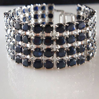 2017 Rushed Qi Xuan_Free Mail Dark Blue Stone Luxury Bracelets_S925 Solid Silver Fashion Bracelets_Manufacturer Directly Sales
