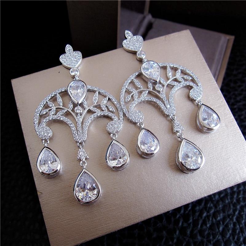 Fashion AAA cubic zirconia chandelier green/clear stones drop earrings,Womens accessaries,E6526