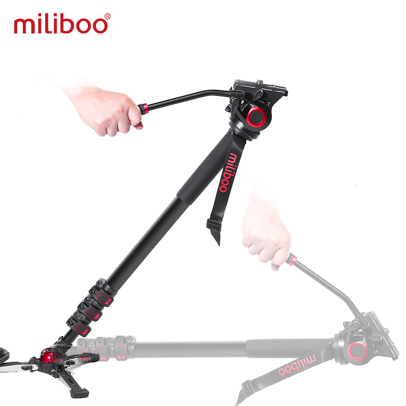 Miliboo Portable Professional DSLR Monopod Walking Stick With Mini Tripod Stand Base & Tripod Ballhead For Canon Nikon 188/80cm
