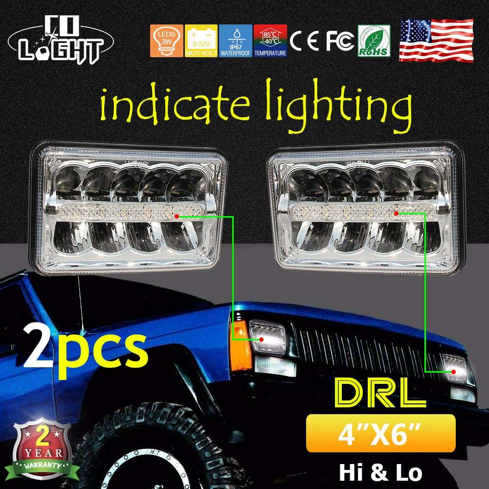 COLIGHT 4X6 Headlight with White Angelic Eyes 44W Led 12V 24V Auto 1800Lm 2150Lm Ip68 for Kenworth Chevrolet Car Styling