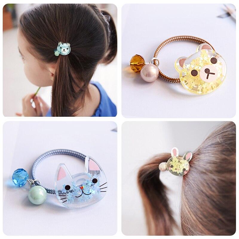 Girls Kids Crystal Kitty/Bear/Rabbit Cartoon Pearl Elastic Hair Bands Princess Ponytail Holder Gum Hair Scrunchies Rubber Band