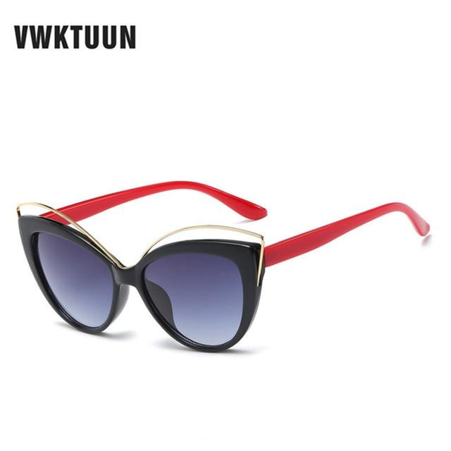 VWKTUUN Wunglasses Women 2020 Vintage Cat Eye Shades Hollow Out Frame Women's Glasses Oversized Sunglasses Woman Brand Designer 2