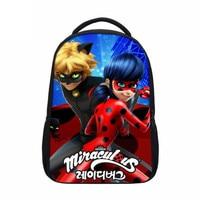 VEEVANV Anime Miraculous Ladybug School Backpack Girls Shoulder Bag Printing Cartoon Cat Noir Adrien Marinette Children