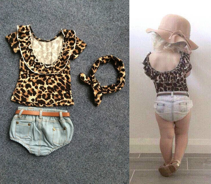 Ins explosion models cotton children leopard lace back + denim shorts + belt + hair band 4 pieces suit trendy ripped fringe lace spliced denim shorts