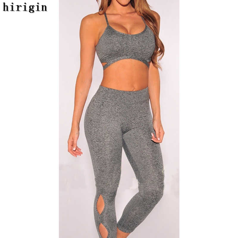 5613889a4a85b Women Tracksuit Yoga Set Sleeveless Gym Clothing Fitness Workout Kit Female  Running Sport Underwear Set Yoga