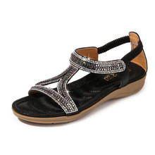 Ladies shoes sandals hollow triangle rhinestone sandals soft bottom wedge flat shoes women's casual fashion women's sandals bohemian sandals for women wedge shoes crystal decoration grey army green shoes ladies cute casual shoes rhinestone sandals