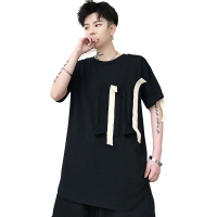 Men Summer Ribbons Spliced Short Sleeve T Shirt Male Streetwear Punk Gothic Hip Hop Tshirt DJ Stage Show Tees Shirts