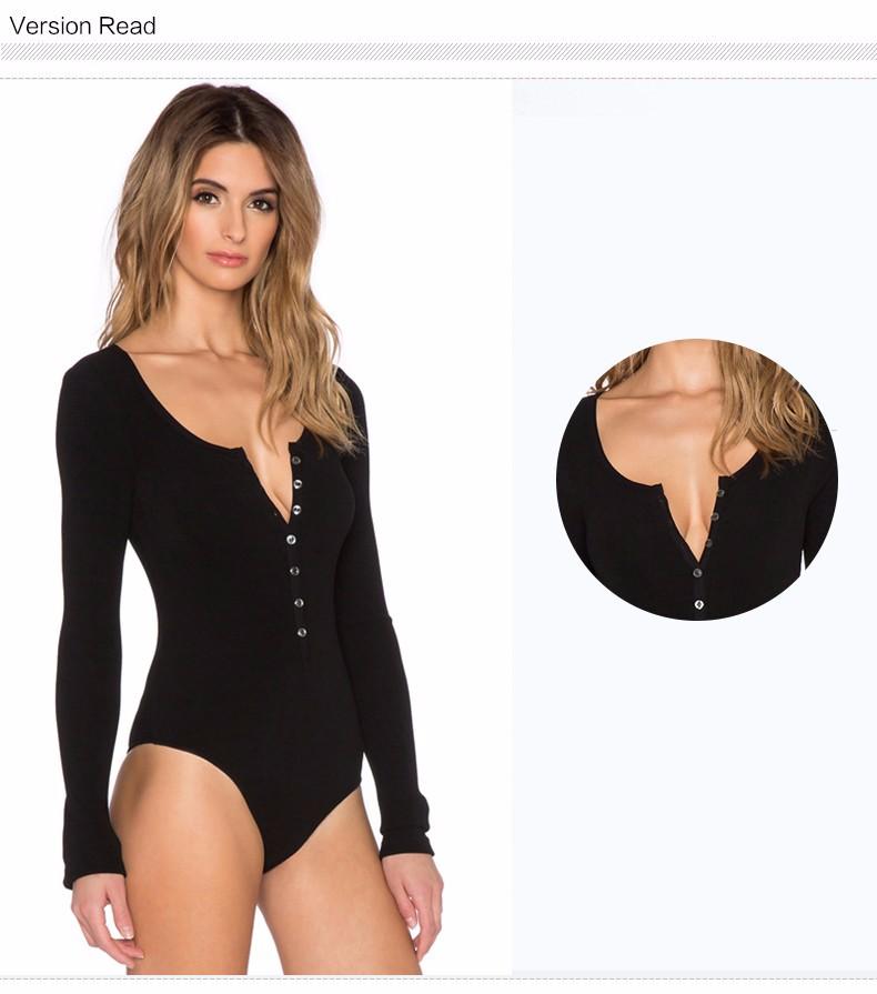 17 New Single Breasted Slim Body Suit Sexy Combinaison Femme Buttons Womens Jumpsuit Black Leotard Bodysuit For Women C166 7